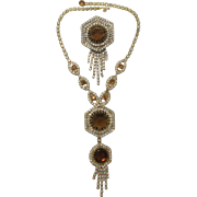 Amazing Smoky Topaz Rhinestone Dangling Necklace and Brooch