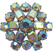 Super Sparkling Aurora Borealis Domed Brooch