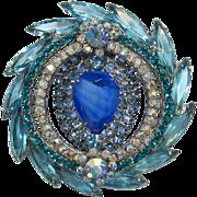 D&E - Juliana Gorgeous Aquamarine and Blue Rhinestone Brooch