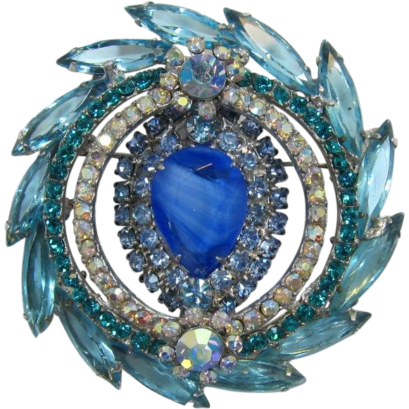 D&E - Juliana Gorgeous Aquamarine and Blue Rhinestone Brooch