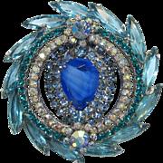 Beautiful D&E - Juliana Gorgeous Aquamarine and Blue Rhinestone Brooch