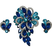 Large Aquamarine and Capri Blue Rhinestone Brooch and Earrings