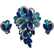 Beautiful Aquamarine and Capri Blue Rhinestone Brooch and Earrings Set