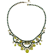 Gorgeous Green and Yellow Rhinestone and Yellow Beaded Dangling Necklace - LAST CHANCE