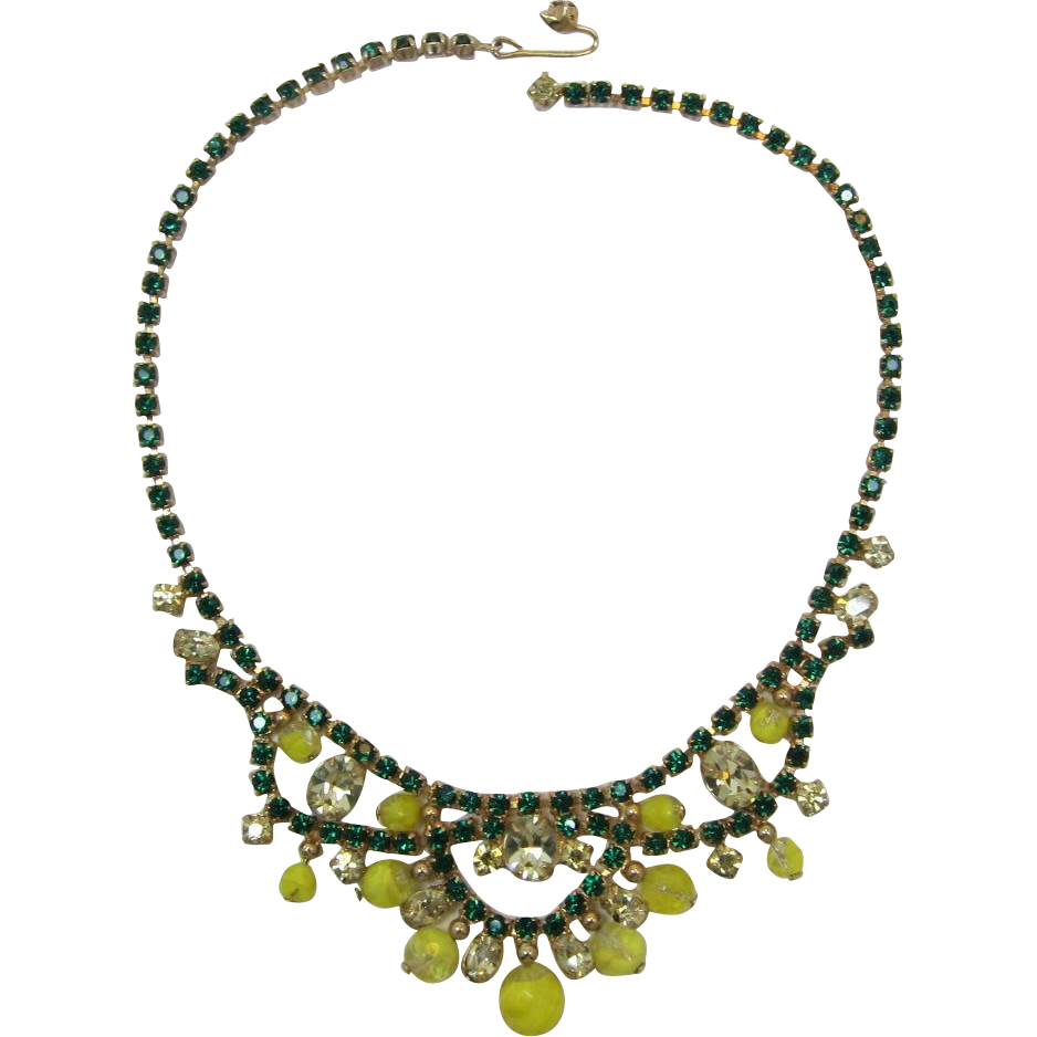 Gorgeous Green Rhinestone and Yellow Bead and Rhinestone Dangling Necklace