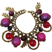Hot Pink and Fuchsia Bobbly Bracelet with Leafy Charms