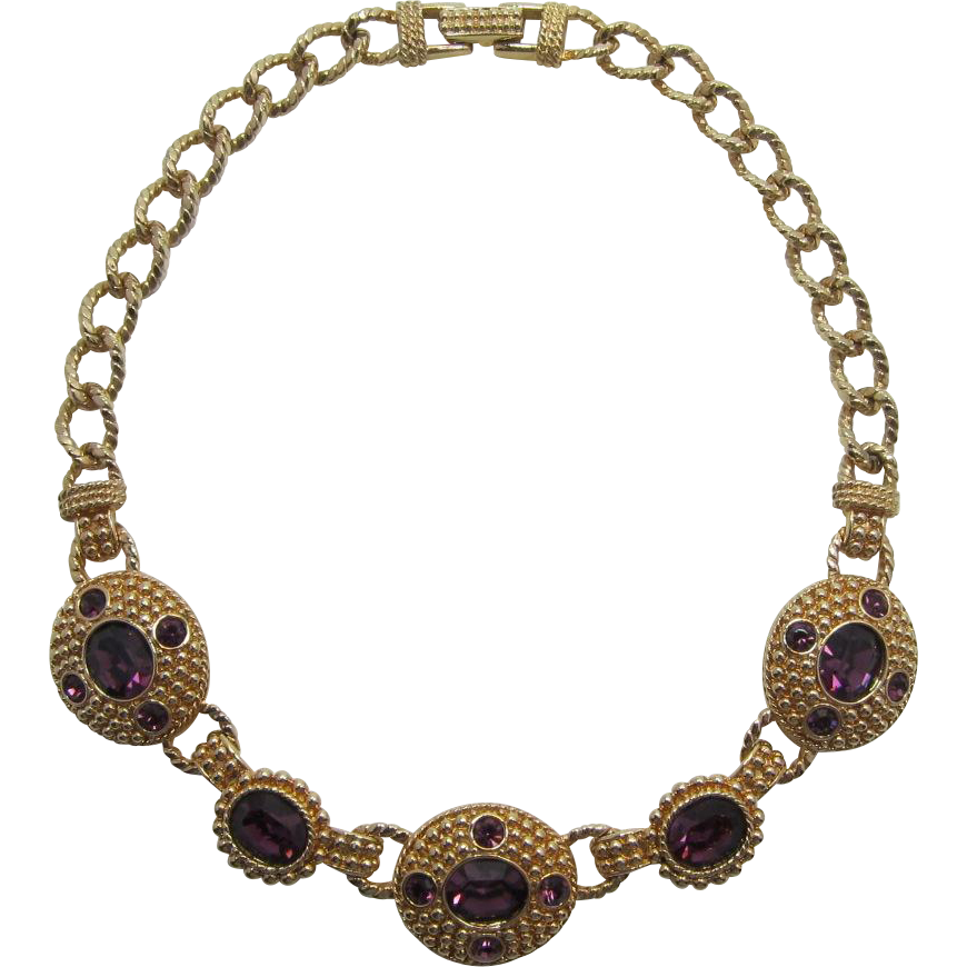 Signed Swarovski Etruscan Style Necklace with Purple Rhinestones