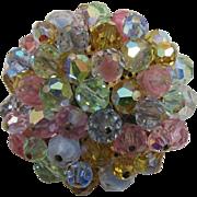 Sparkling Pastel Beaded Cluster Brooch