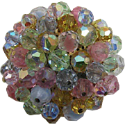 Lovely Pastel Beaded Cluster Brooch