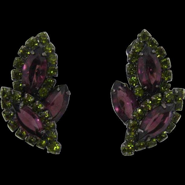 Regal Purple Navette and Olivine Green Rhinestone Earrings signed CTN -USA