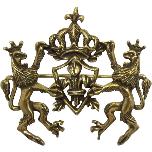 Detailed Heraldic Brooch with Lions Rampant