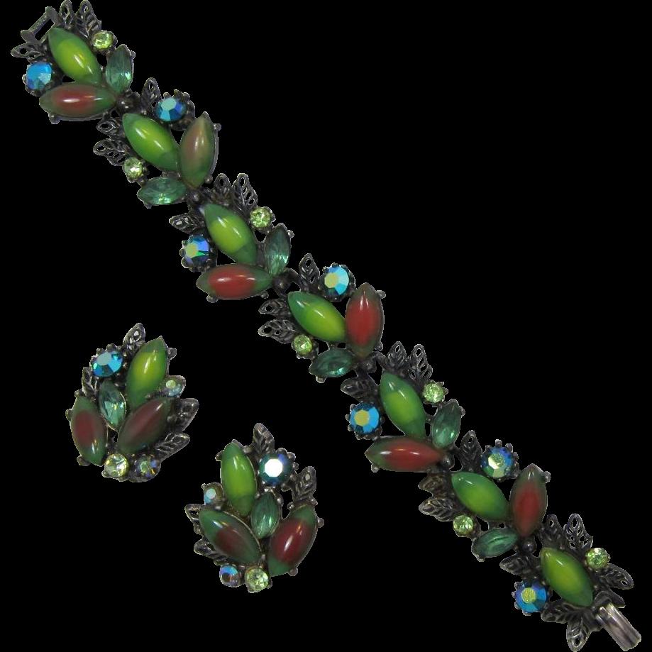 ART Green Striped Navette and Peridot Rhinestone Bracelet and Earrings