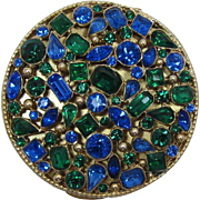 LAST CHANCE - Magnificent Blue and Green Rhinestone Ladies Compact