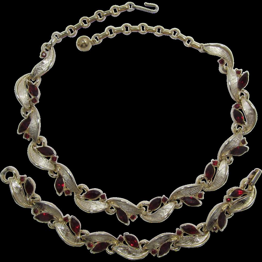 Lisner Ruby-Red Rhinestone Necklace and Bracelet Set