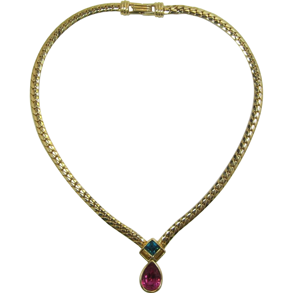 Swarovski Gold-tone Necklace with Teal and Pink Dangle