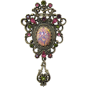 Sarah Coventry Ornate Brooch/Pendant with Large Pink Cat's Eye Cabochon - Book Piece