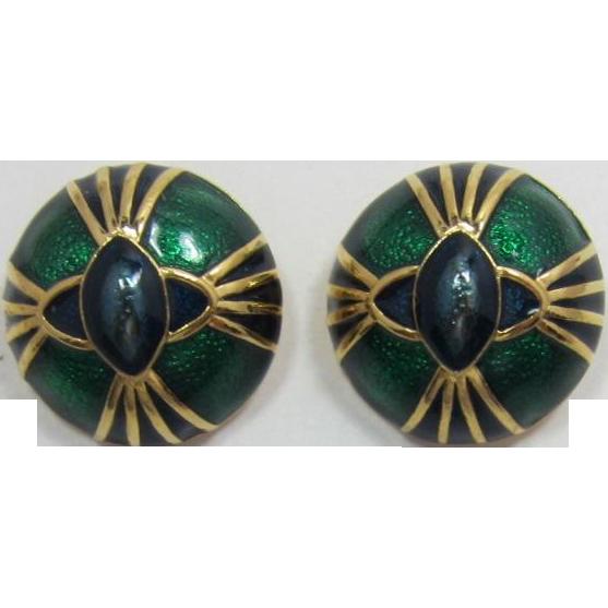 Joan Rivers Green and Blue Enameled Earrings - Book Piece