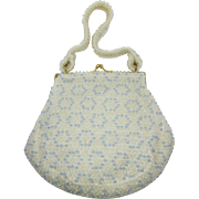 Corde'-Bead Off-White, Clear and Blue Beaded Handbag