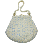 LAST CHANCE - Corde'-Bead Off-White, Clear and Blue Beaded Handbag