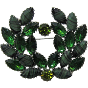 Tourmaline, Olivine and Striped Green Wreath Style Brooch