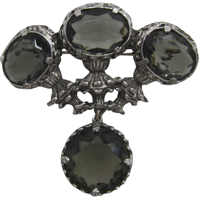 "Large Etruscan Style ""Black Diamond"" Brooch/Pendant"