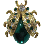 Green and Clear Rhinestone Lady Bug Pin