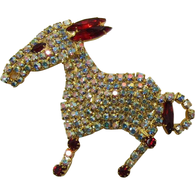Donkey Brooch Encrusted with AB and Red Rhinestones