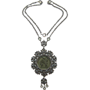 Goldette Style Pendant Necklace with Reverse Intaglio