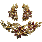 "Avon ""Festive Treasure"" Poinsettia Pin and Earrings - Book Piece"