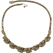 Weiss Caramel Navette and Topaz AB Rhinestone Necklace