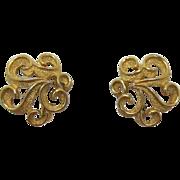 Crown Trifari Gold-tone Scalloped Earrings