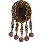 Goldette Brooch with Large Deep Purple Stone and Dangles