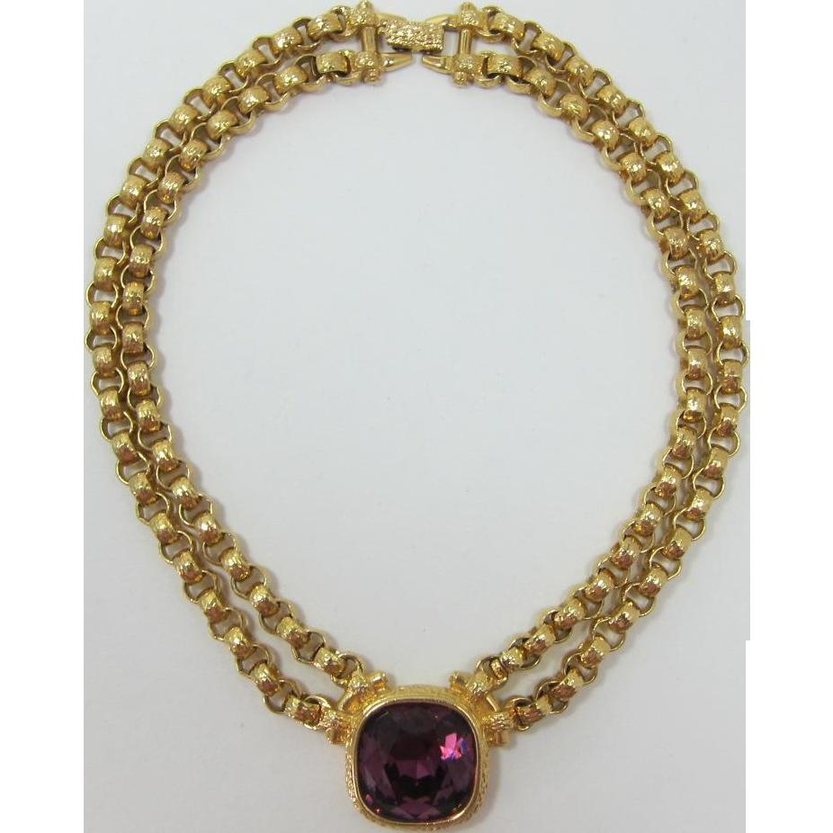 Amazing Signed Swarovski Swan Mark Purple Rhinestone Necklace