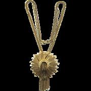Monet Burnished Gold-tone Sunburst Waterfall Necklace