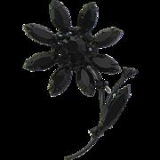 Black Japanned and Navette Rhinestone Flower Brooch