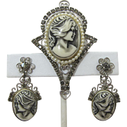 Faux Ivory Cameo Brooch and Earrings with Grey Rhinestones and Imitation Pearls