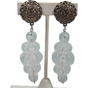 Long Dangling Clear Acrylic Melon-shaped Beaded Earrings