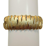 Crown Trifari Wide Gold-tone Modernist Bracelet