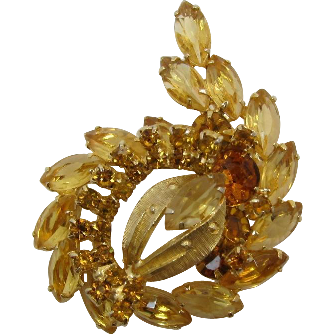 Bright Topaz Rhinestone and Unfoiled Navette Spray Brooch