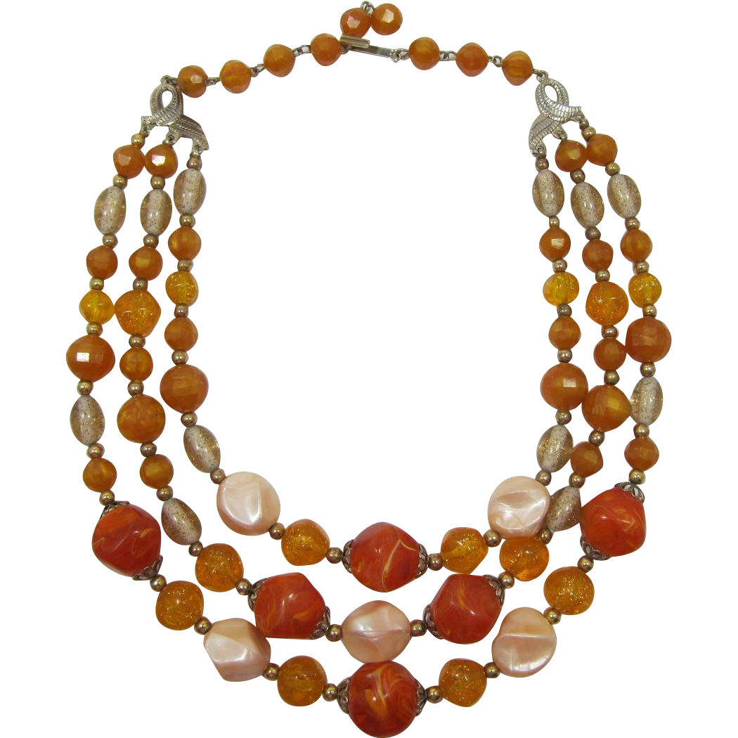 Three Strand Swirled Orange and Pink Pearlized Beaded Necklace