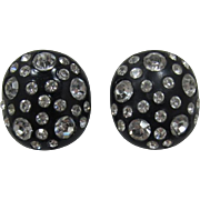 Weiss Black Thermoplastic Earrings with Clear Rhinestones