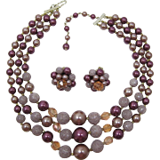 Three Strand Purple, Lavender and Rose Pink Beaded Necklace & Earrings - Japan