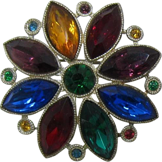 Vibrant Old 1930's Flower Brooch with Jewel-tone Navettes