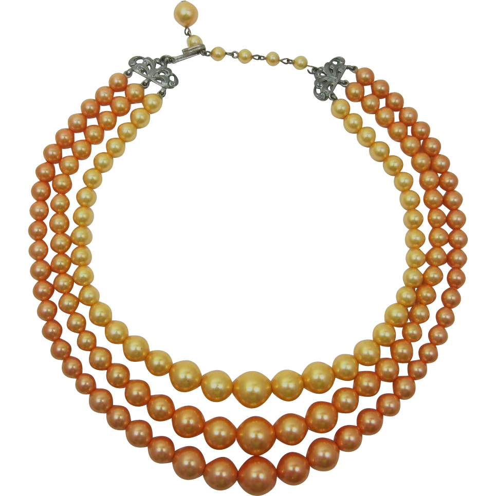 Three Strand Necklace of Light Orange Pearlized Beads