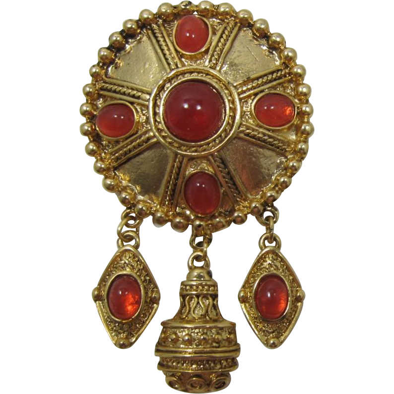 Gold-tone and Imitation Carnelian Dangling Brooch