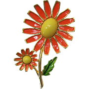 Weiss Orange and Yellow Enameled Flowers Brooch