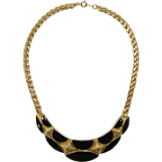 Trifari Gold-tone and Black Enameled Necklace
