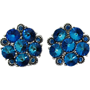 Gorgeous Blue Tourmaline Rhinestone Earrings