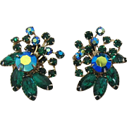 Unsigned Beaujewels Green and Green AB Rhinestone Earrings