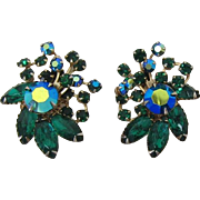 Unsigned Beau Jewels Green and Green AB Rhinestone Earrings Beaujewels